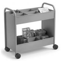 Economical Steel Book Trolley with 12 Compartment Shelf