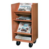 Laminate Wood Narrow Newspaper Trolley