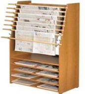 Classic Newspaper Display Rack 8 Stick with 5 shelves