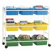 Mobile Storage & Browsing Cart 9 Tubs