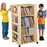 Large Four Side Mobile Book Display Tower