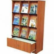 Custom Build 9 Pocket Magazine Rack with Bottom Storage Cabinet